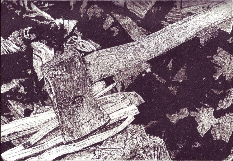 Beil, Holz, Tusche, Axt, Zeichnungen
