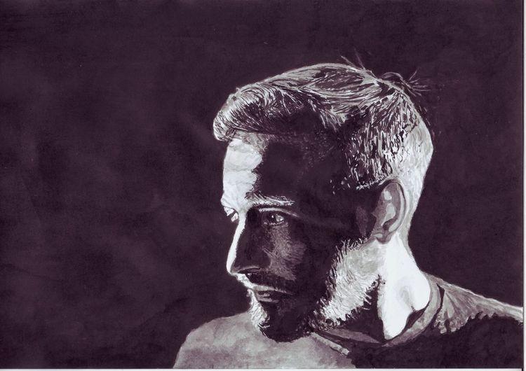Portrait, Mann, Sänger, Tusche, Zeichnungen