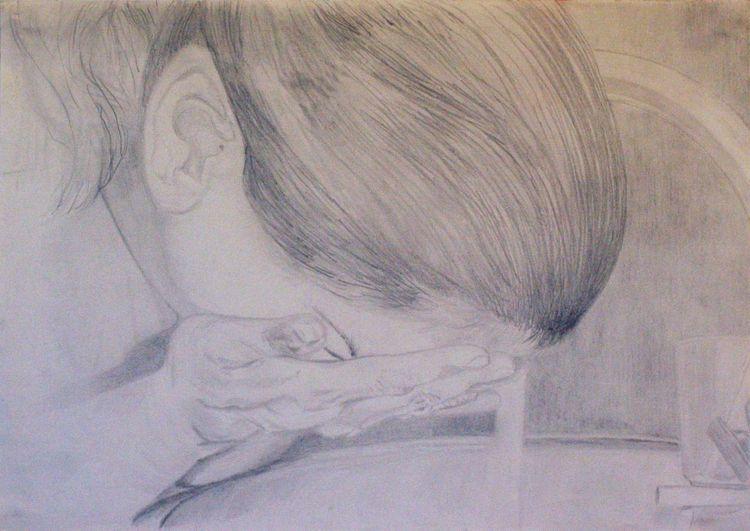 Skizze, Bleistiftzeichnung, Täglich, Portrait, Selbstportrait, Zeichnung