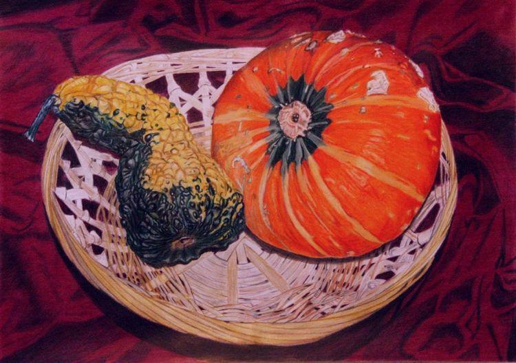Ernte, Kürbisse, Korb, Herbst, Zeichnungen