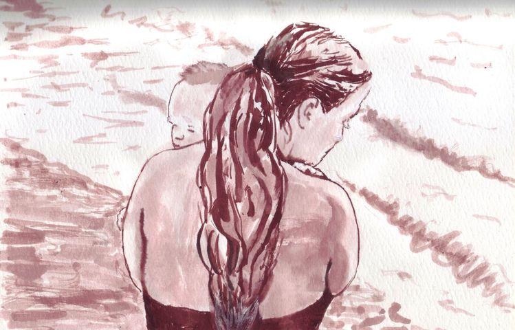 Meer, Sonne, Frau, Baby, Zeichnungen, Inktober
