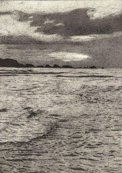 Zeichnung, Grau, Meer, Wolken, Sonne, Felsen