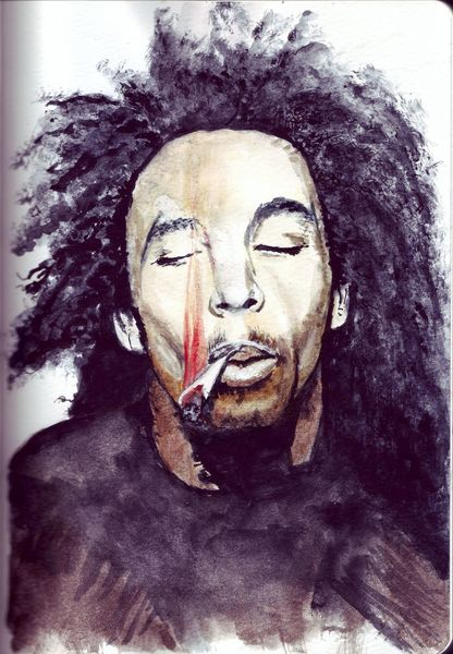 Mann, Musik, Dreadlocks, Zigarette, Rauch, Mischtechnik