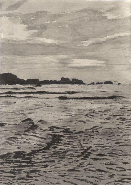 Erinnerung, Welle, Tuschmalerei, Sonne, Zeichnung, Pinsel