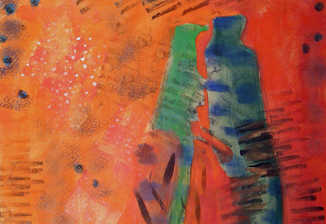 Orange, Blau, Grün, Mann, Frau, Temperamalerei