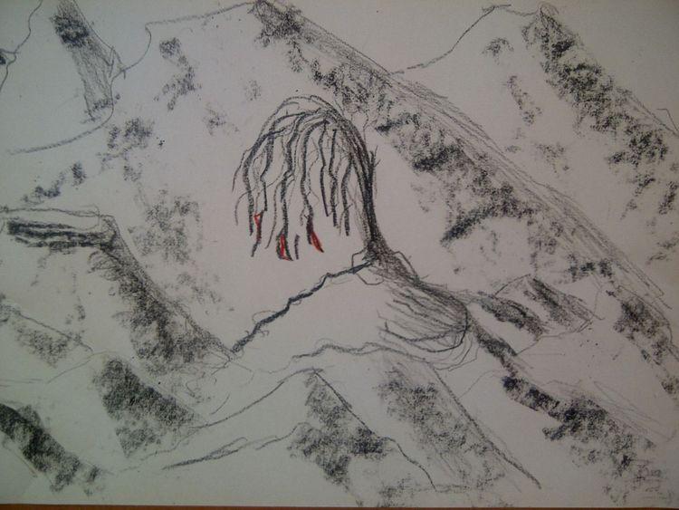 Blut, Iamtree, Bleistiftzeichnung, Rot, Zeichnungen