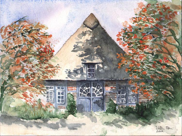 Fachwerk, Aquarellmalerei, Realismus, Friesenhaus, Reeddach, Landschaft