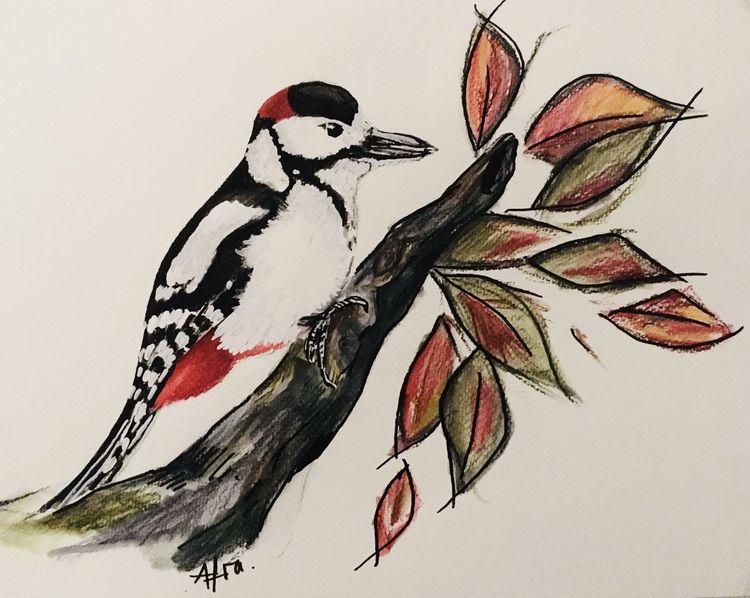 Tiere, Buntspecht, Herbst, Vogel, Aquarellmalerei, Aquarell