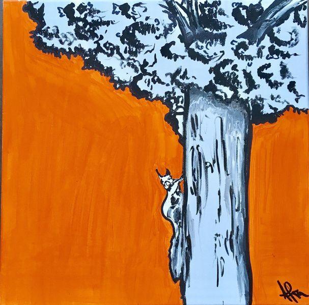 Eichhörnchen, Baum, Acrylmalerei, Copic marker, Zeichnungen