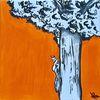 Eichhörnchen, Acrylmalerei, Baum, Copic marker