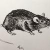 Ratte, Tuschmalerei, Nagetier, Schwarz