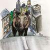 Wildschwein, Aquarellmalerei, Stadt, Stadttiere