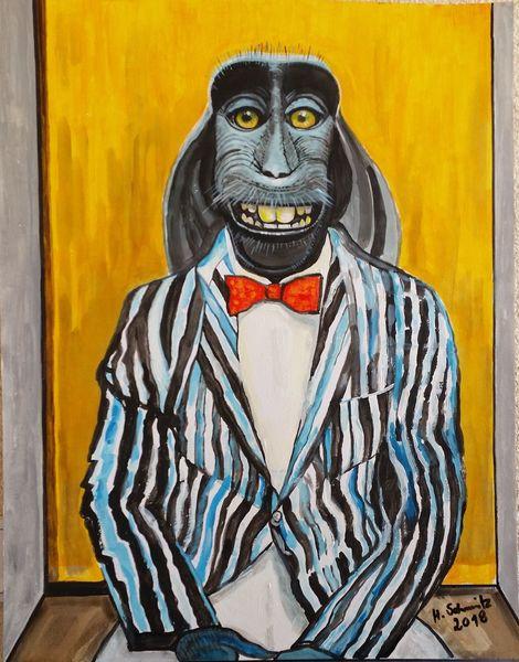 Makake, Acrylmalerei, Malerei, Portrait,