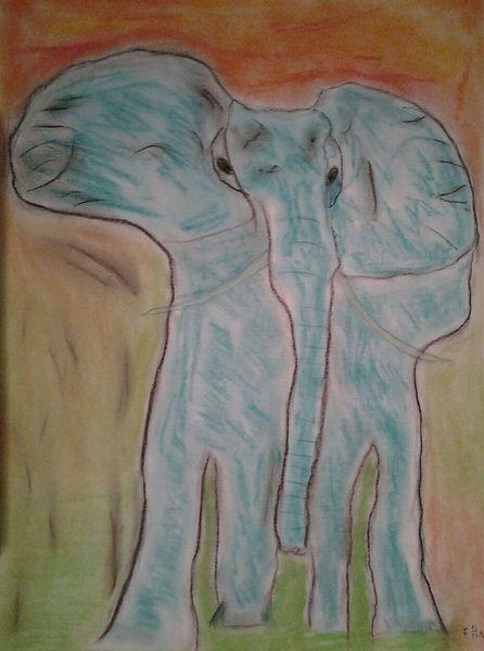 Elefant, Pastellmalerei, Tiere, Malerei