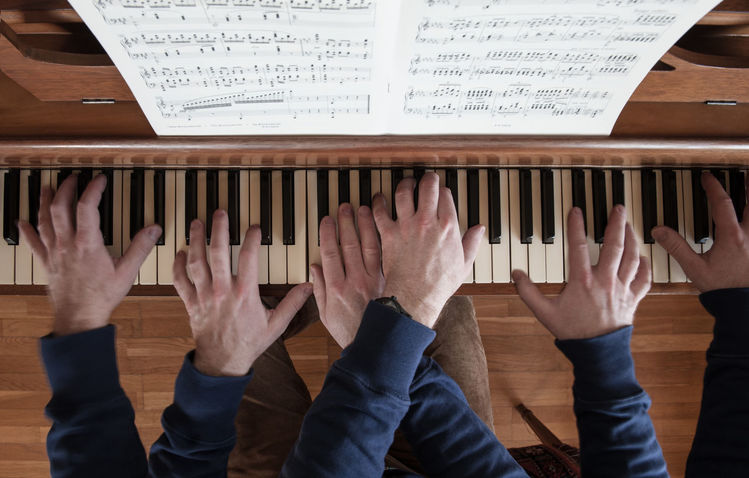 Klavier, Finger, Hände, Mehrfachbelichtung, Keys, Tastatur