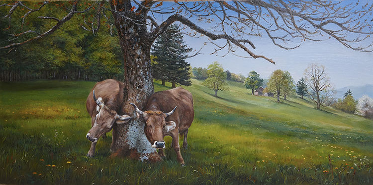 Cows on canvas, Swizerland, Ölmalerei, Kuh, Braunvieh, Vacas