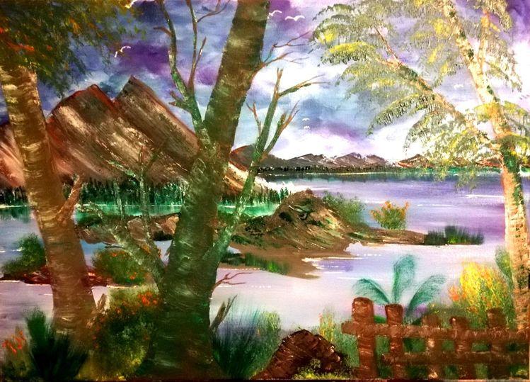 Lila, Baum, Zaun, Berge, Malerei
