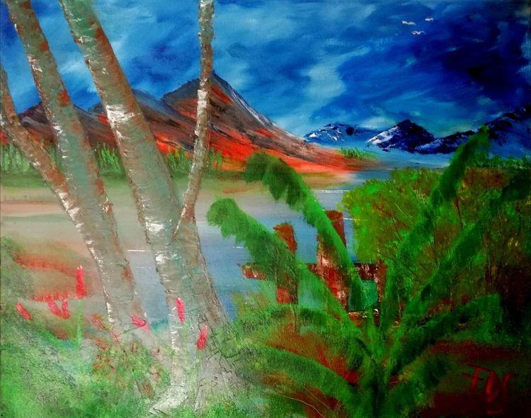 Berge, Baum, Eichen, Malerei