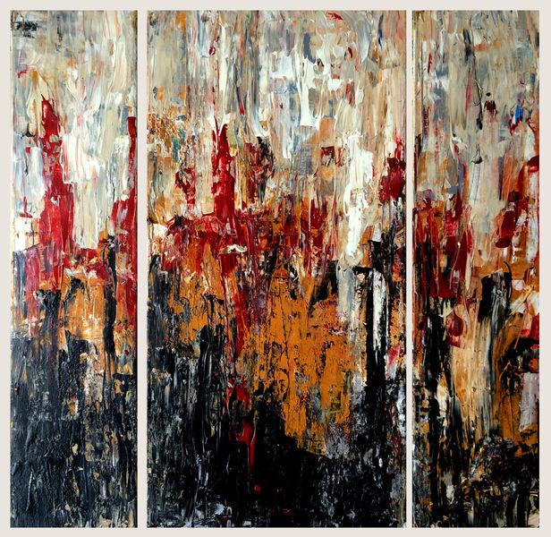 Eis, Spachteltechnik, Triptychon, Feuer, Malerei