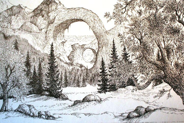Berge, Zeichnungen, Tuschezeichnungen, Ausblick