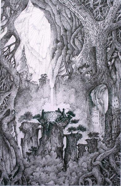 Baum, Licht, Mythologie, Zeichnungen, Tuschezeichnungen