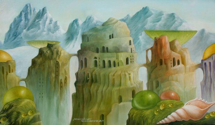 Gebirgslandschaft, Brücke, Gebäude, Wolken, Schneckenhaus, Berge