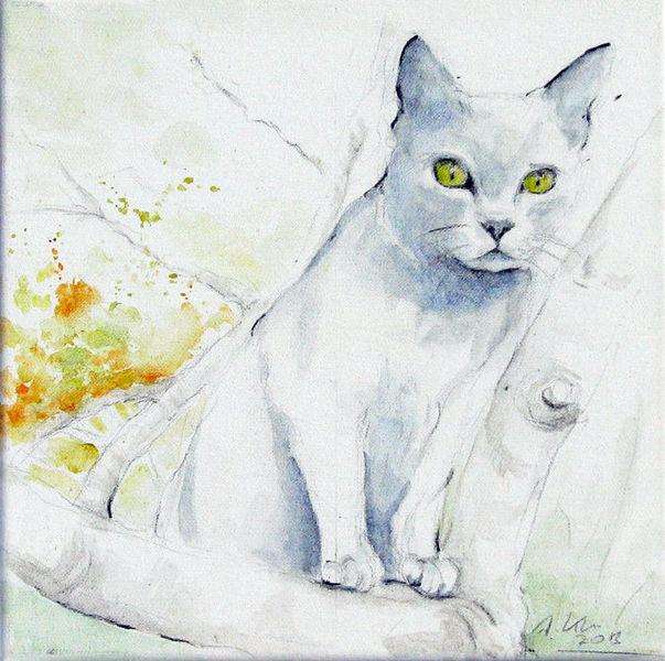 Tiere, Katze, Aquarell, Baum