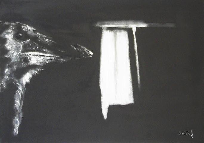 Bild schwarz rabe fenster malerei mythologie surreal for Fenster 70x50