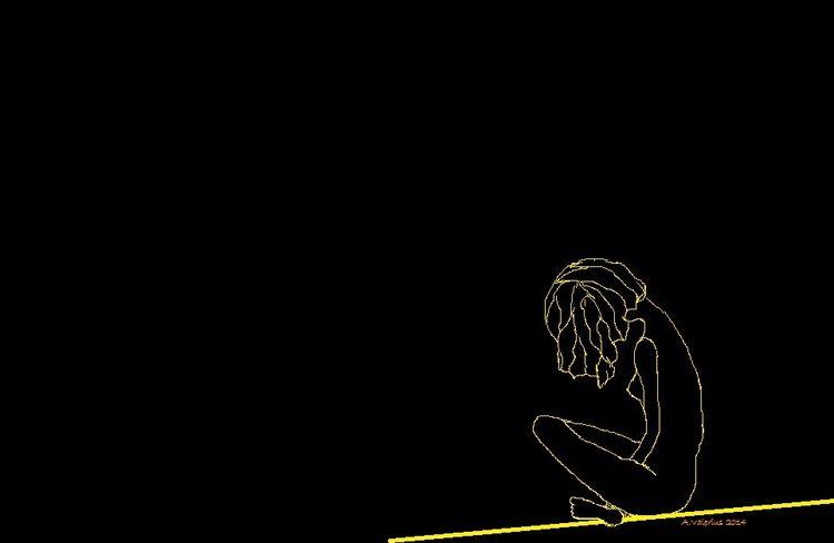 Frau, Linie, Schwarz, Silhouette, Gelb, Digitale kunst