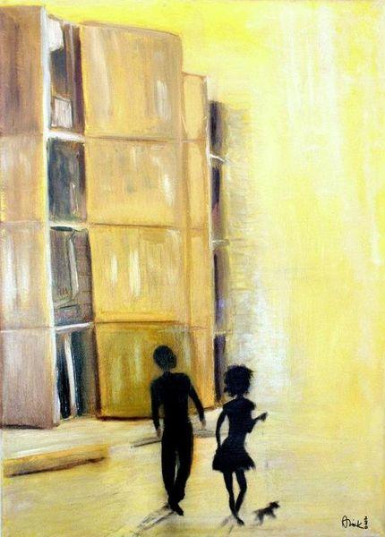 Hund, Gelb, Frau, Mann, Malerei, Surreal