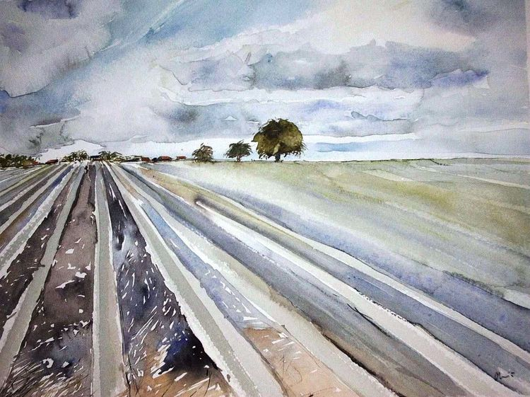 Aquarellmalerei, Landschaft, Feld, Twente, Holland, Aquarell