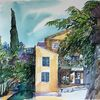 Stadt, Provence, Dorf, Aquarell