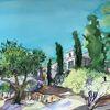 Garten, Provence, Haus, Aquarell