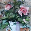 Blumen, Rose, Vase, Aquarell