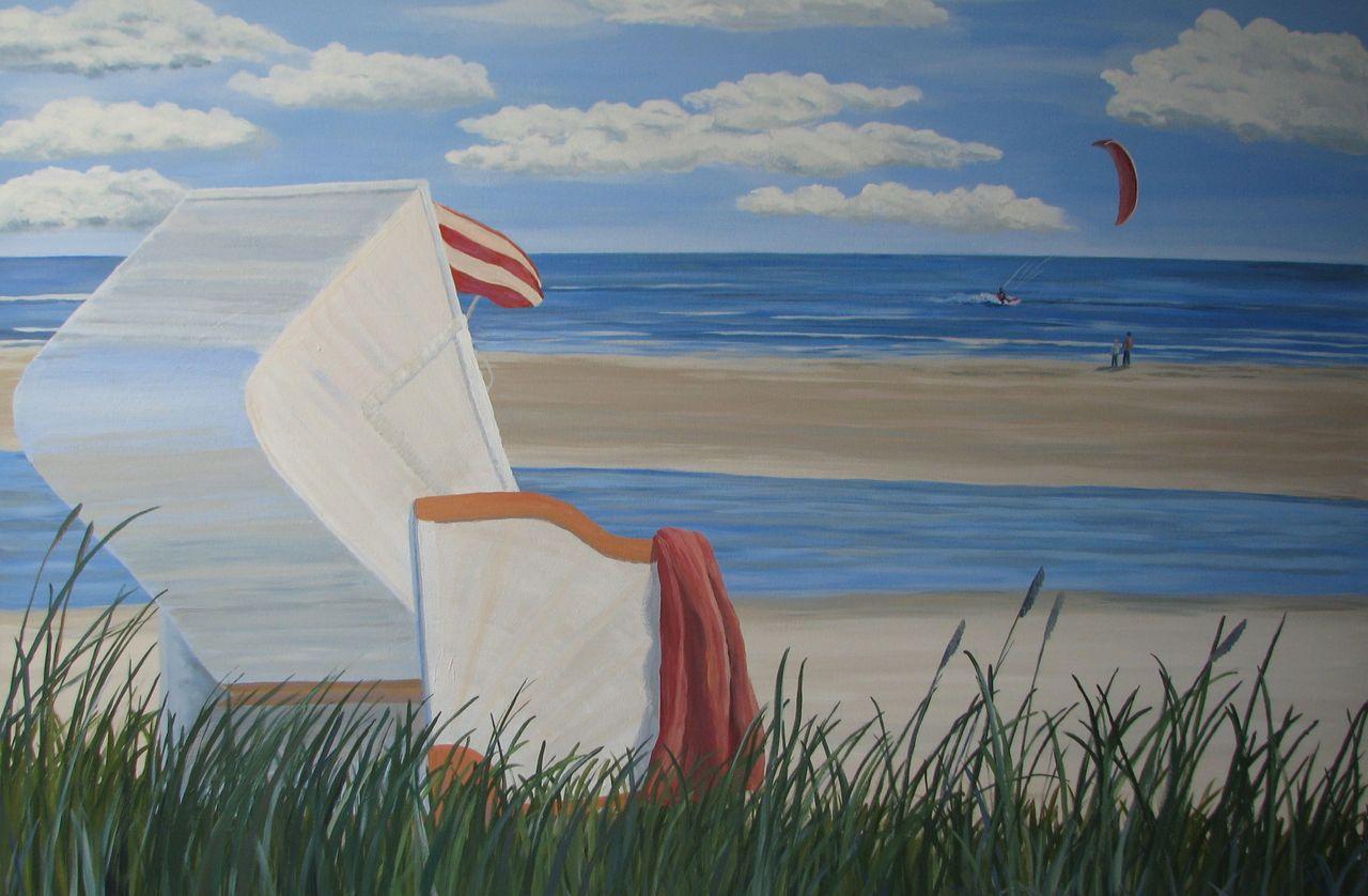 Strandkorb zeichnung  Bild: Strandkorb meer küste, Naturalismus, Malerei, Landschaften ...