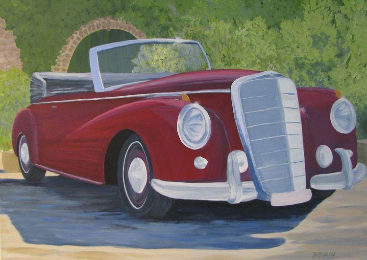 Cabrio mercedes oldtimer, Malerei, Mercedes, Oldtimer, Cabrio