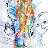 Rot, Menschen, Blau, Pastellmalerei