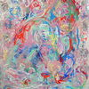 Bett, Pastellmalerei, Rot, Menschen