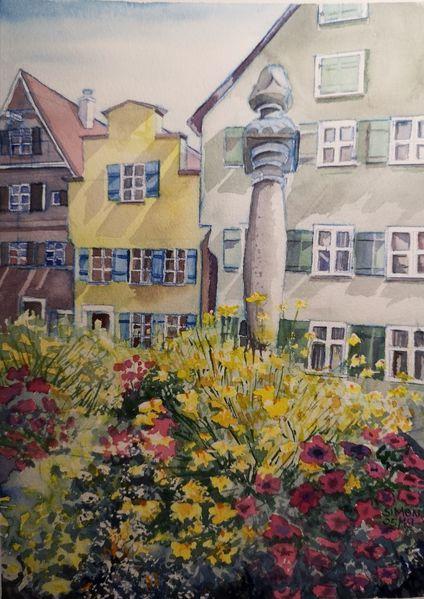 Dinkelsbühl, Altstadt, Brunnen, Aquarell