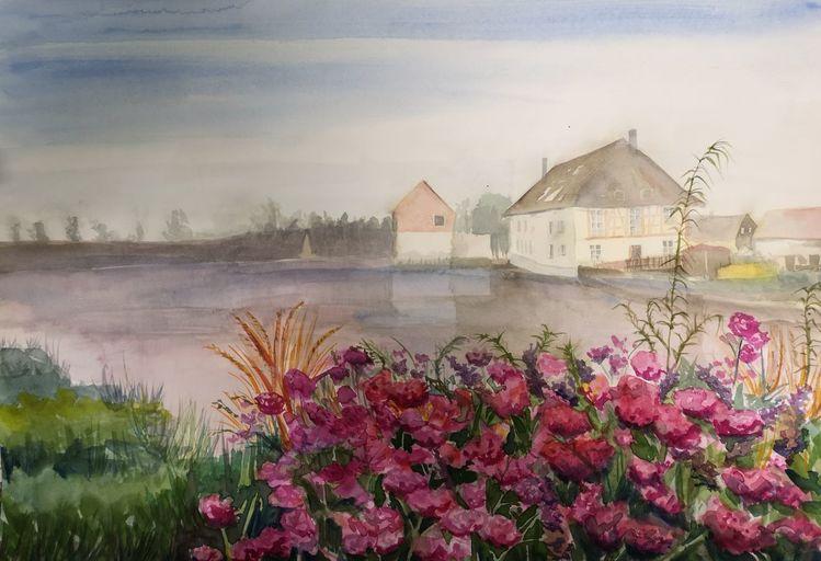 Fluss, Mühle, Blumen, Aquarell, Flusslandschaft