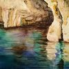 Grotte, Spiegelung, Höhle, Aquarell