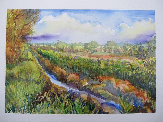 Landschaft himmel acker, Herbst, Aquarell, Paysage