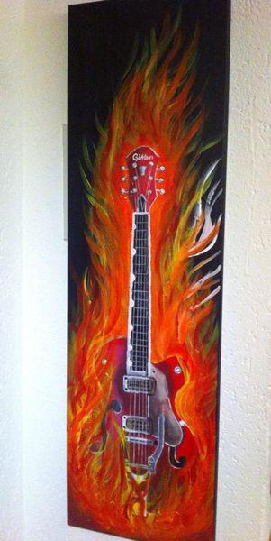 Brennen, Feuer, Gitarre, Acrylmalerei, Malerei,