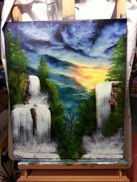 Grün, Sonnenuntergang, Wasser, Wolken, Wasserfall, Kalt