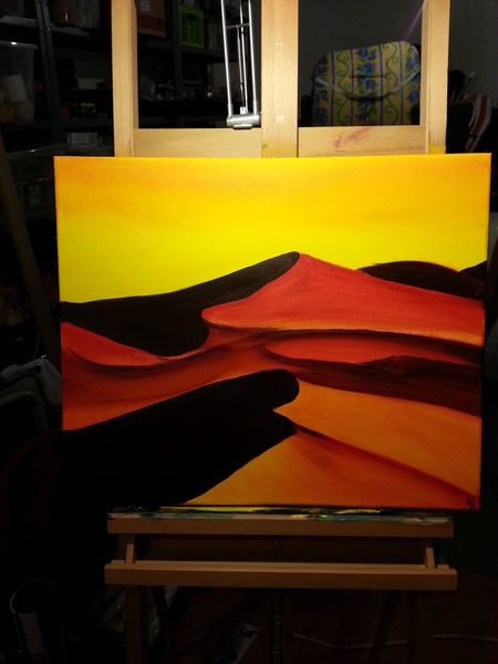 Dünen, Wüste, Warm, Acrylmalerei, Malerei