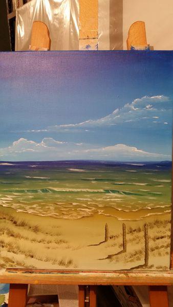 Wärme, Acrylmalerei, Meer, Landschaft, Wasser, Sand