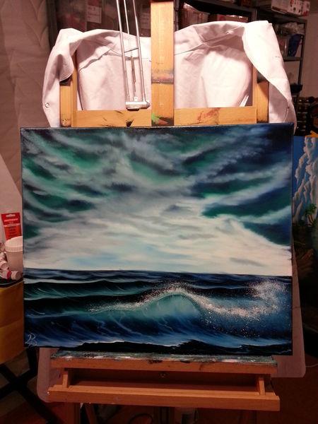 Ölmalerei, Welle, Warm, Wolken, Strand, Atmosphäre