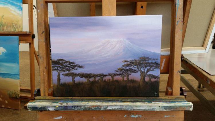 Afrika, Landschaftsmalerei, Ölmalerei, Kilimanjaro, Malerei