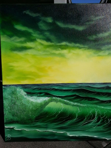 Wolken, Grün, Strand, Ölmalerei, Meer, Welle
