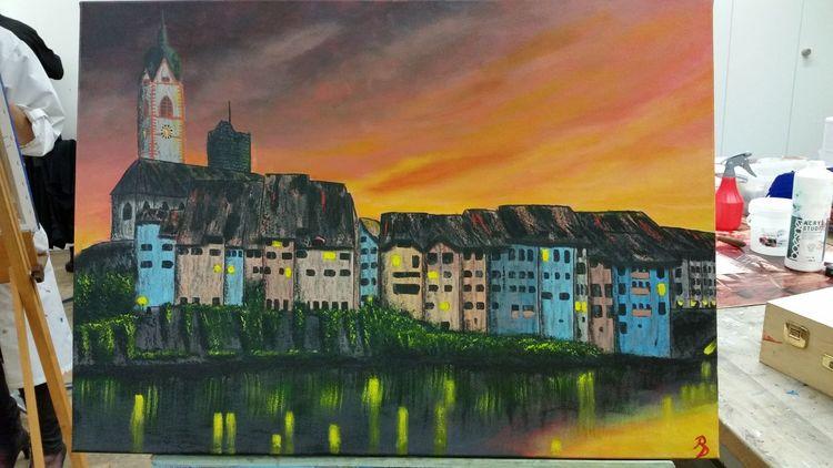 Laufenburg, Stadt, Landschaft, Malerei, Architektur, Skyline